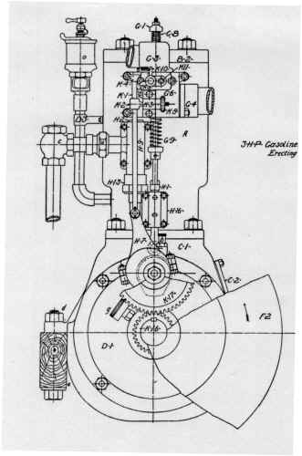 3HP ENGINE DRAWING - FRONT VIEW